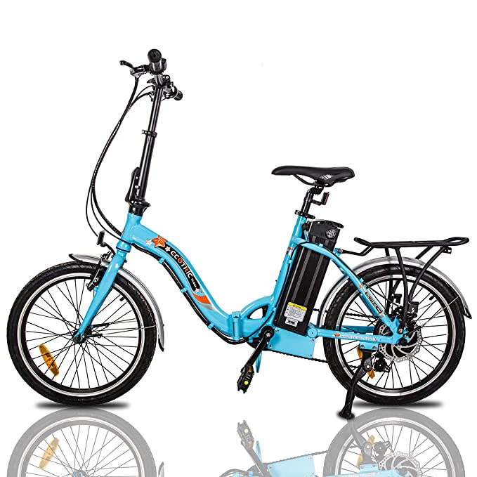 "ECOTRIC Folding Electric City Bike Bicycle 20"" Alloy Frame Ebike 350W Gear Rear Motor 36V/10AH Removable Lithium Battery Pedal and Throttle Assist LED Display (Blue)"
