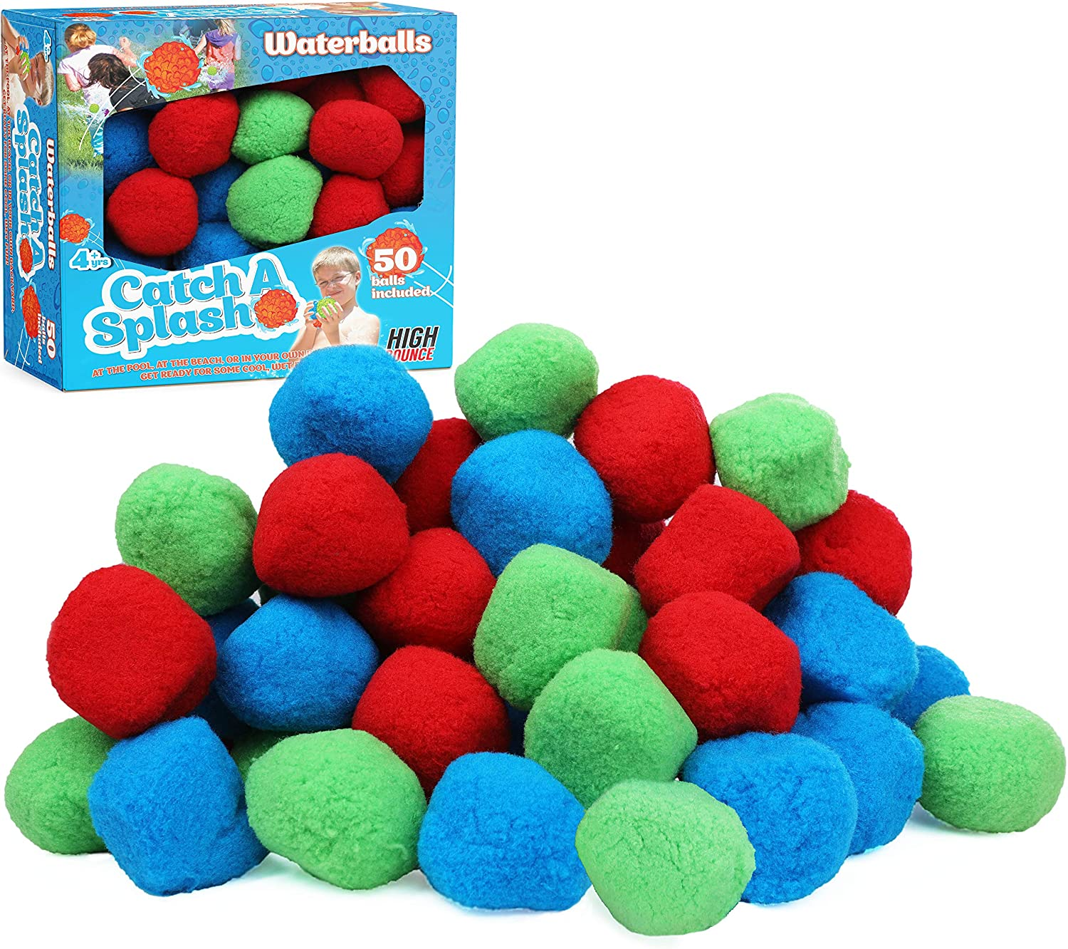 High Bounce Catch-A-Splash Waterballs; 50 Highly Absorbent Cotton Splash Balls- Re-usable Child Friendly Outdoor & Pool Activity
