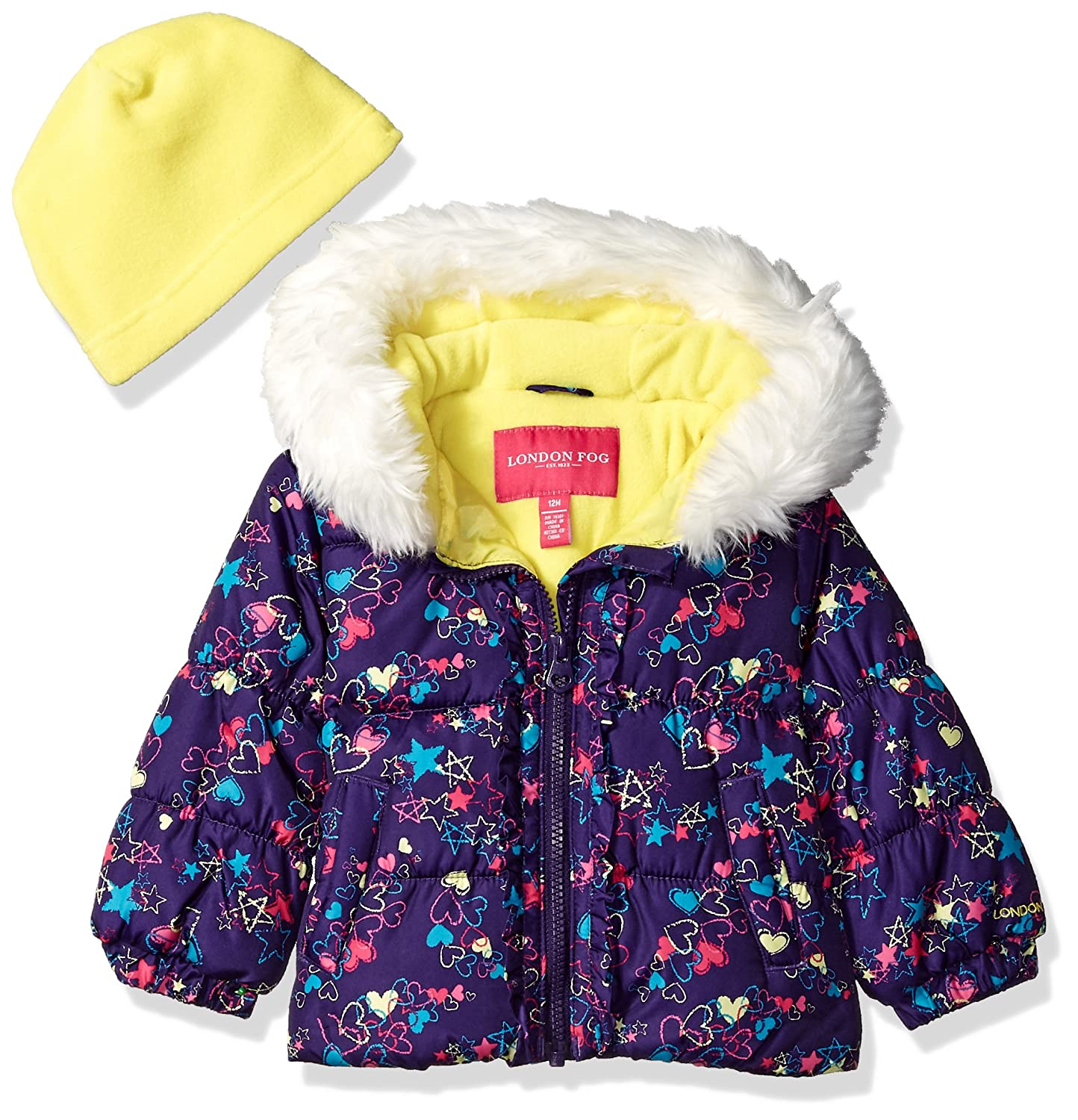 London Fog Baby Girls Winter Coat with Hat /& Scarf