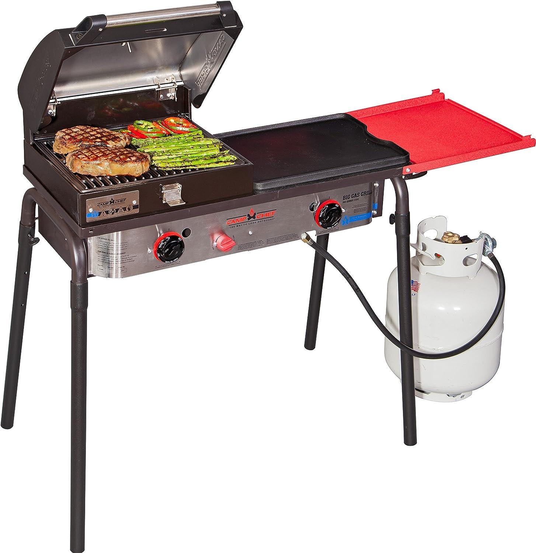 Camp Chef Big Gas Grill 2 quemadores estufa de campamento con caja de barbacoa (BB30L) y parrilla de hierro fundido (CG16B) – Paquete de portón ...