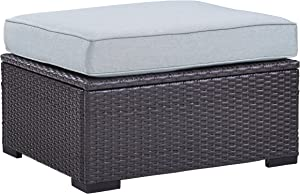 Crosley Furniture KO70127BR-MI Biscayne Outdoor Wicker Ottoman, Brown with Mist Cushions