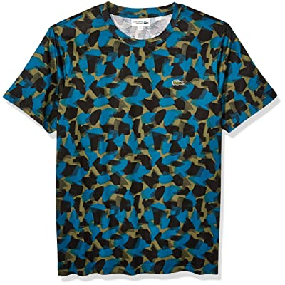 Lacoste Mens Sport Short Sleeve Camo Printed Tee T-Shirt | .com