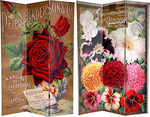 Oriental Furniture 6 ft. Tall Double Sided Flower Seeds Canvas Room Divider – Roses