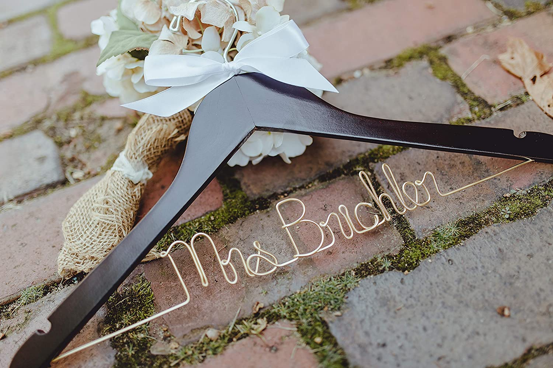 Mrs Hanger Personalized Bridal Hanger Up to Two Lines Bride Hanger