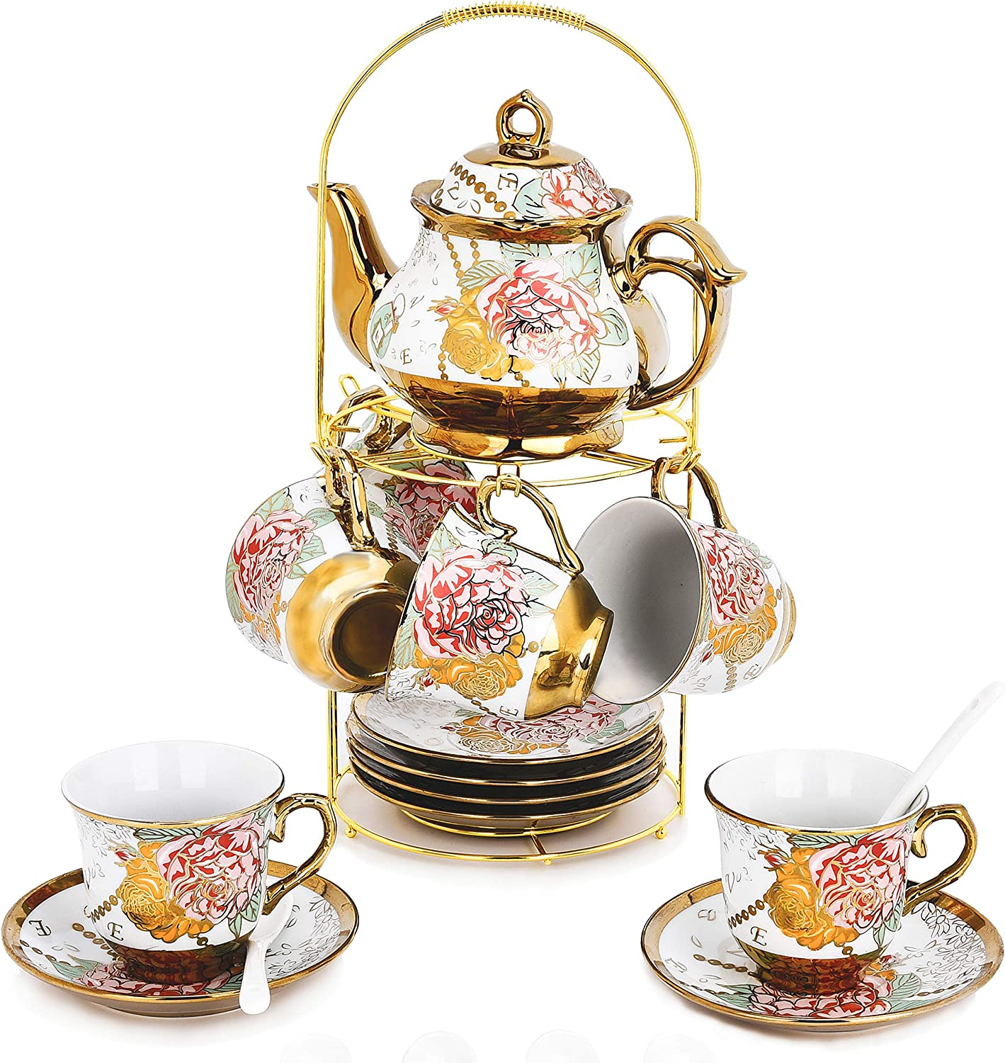 DaGiBayCn 20 Piece European Ceramic Tea Set Coffee set Porcelain Tea SetWith Metal Holder,flower tea set Red Rose Painting