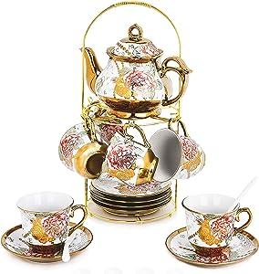 DaGiBayCn 20 Piece European Ceramic Tea Set Coffee set Porcelain Tea SetWith Metal Holder,flower tea set Red Rose Painting,160ML/Cup,460ML/Pot.(Large version)