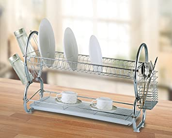 Modern Kitchen 22u0026quot; Chrome Plated 2 Tier E Shaped Dish Drying Rack And  Draining