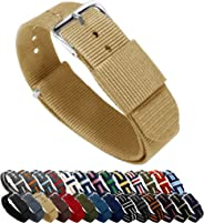BARTON Watch Bands - Choice of Color, Length & Width (18mm, 20mm, 22mm or 24mm) - Ballistic Nylon, Stainless Steel