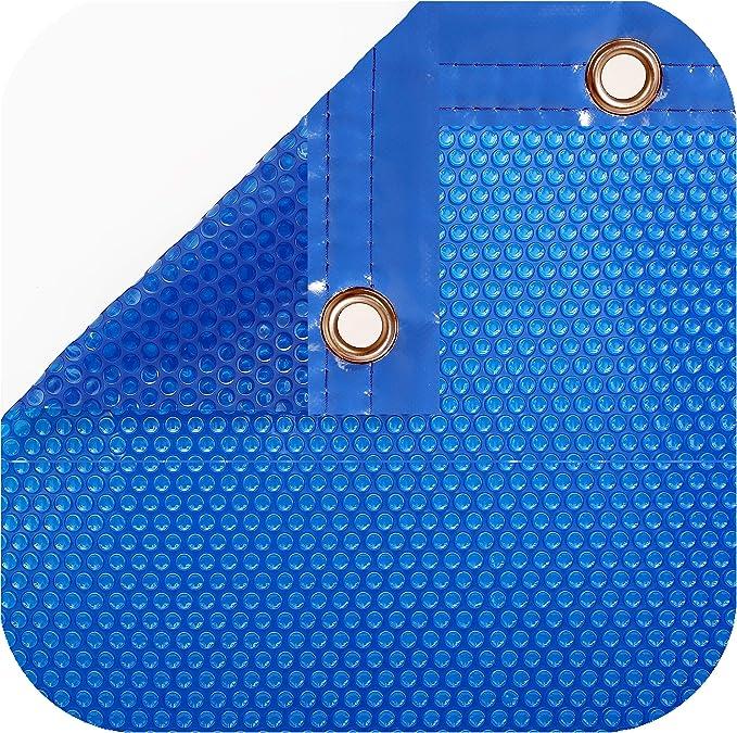 International Pool Protection Pack COBERTOR TÉRMICO DE 600 MICRAS (7x4m) + ENROLLADOR TELESCÓPICO DE 81mm.