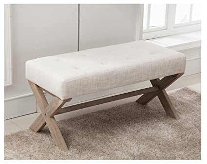 Fabric Upholstered Ottoman Bench Seat, Large Rectangular Footstool Rustic  Bench With X Shaped Rubber