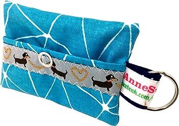Kackbeutel petrol Muster Hundekotbeutel Spender Hundetüte Leckerli Tasche aus Wachstuch Gassi gehen Waste Geschenk Hundebesitzer Poop Bag Chien