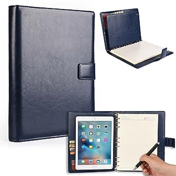 Funda para Apple iPad Air 1 con Cuaderno, Cooper FOLDERTAB Carcasa Tipo Cartera con planificador, libreta y Bolsillos para Zurdos y diestros (Azul)