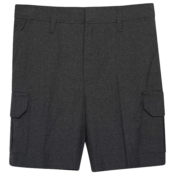 3f3f75eb4a Off The High Street Boys Cargo School Shorts Uniform Adjustable Waist Black,  Grey & Charcoal