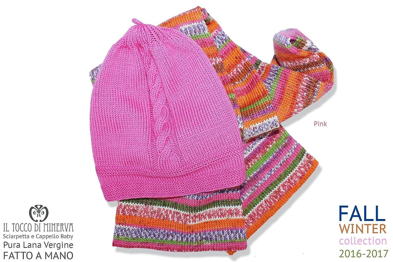 Sombrero y bufanda completa del bebé rosada rosa hecha a mano Made in Italy