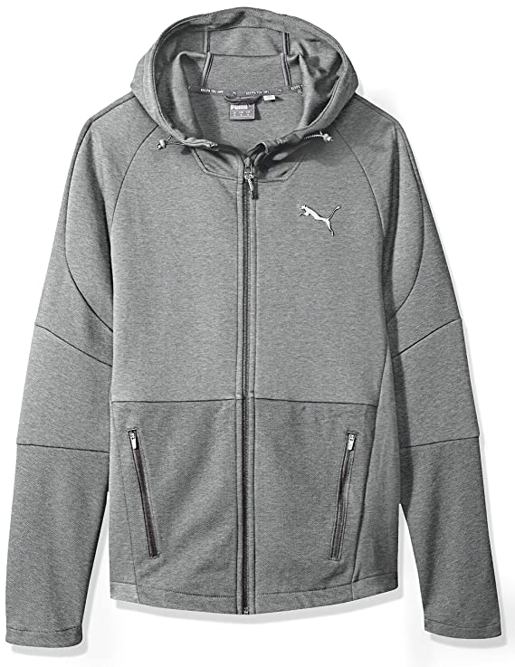 PUMA Men's EVOSTRIPE Move Hooded Jacket, Medium Gray Heather, M