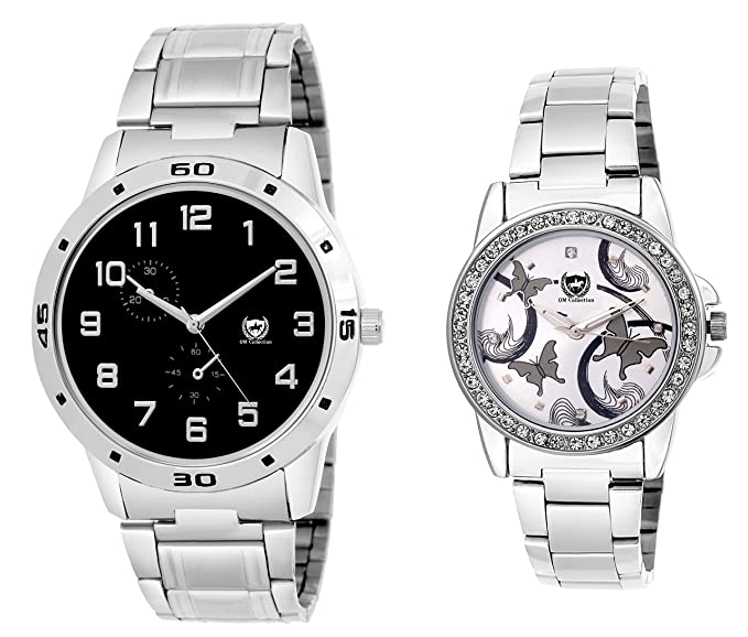 Analog Couple Black and Silver Dial Watches Combo-omwt-33