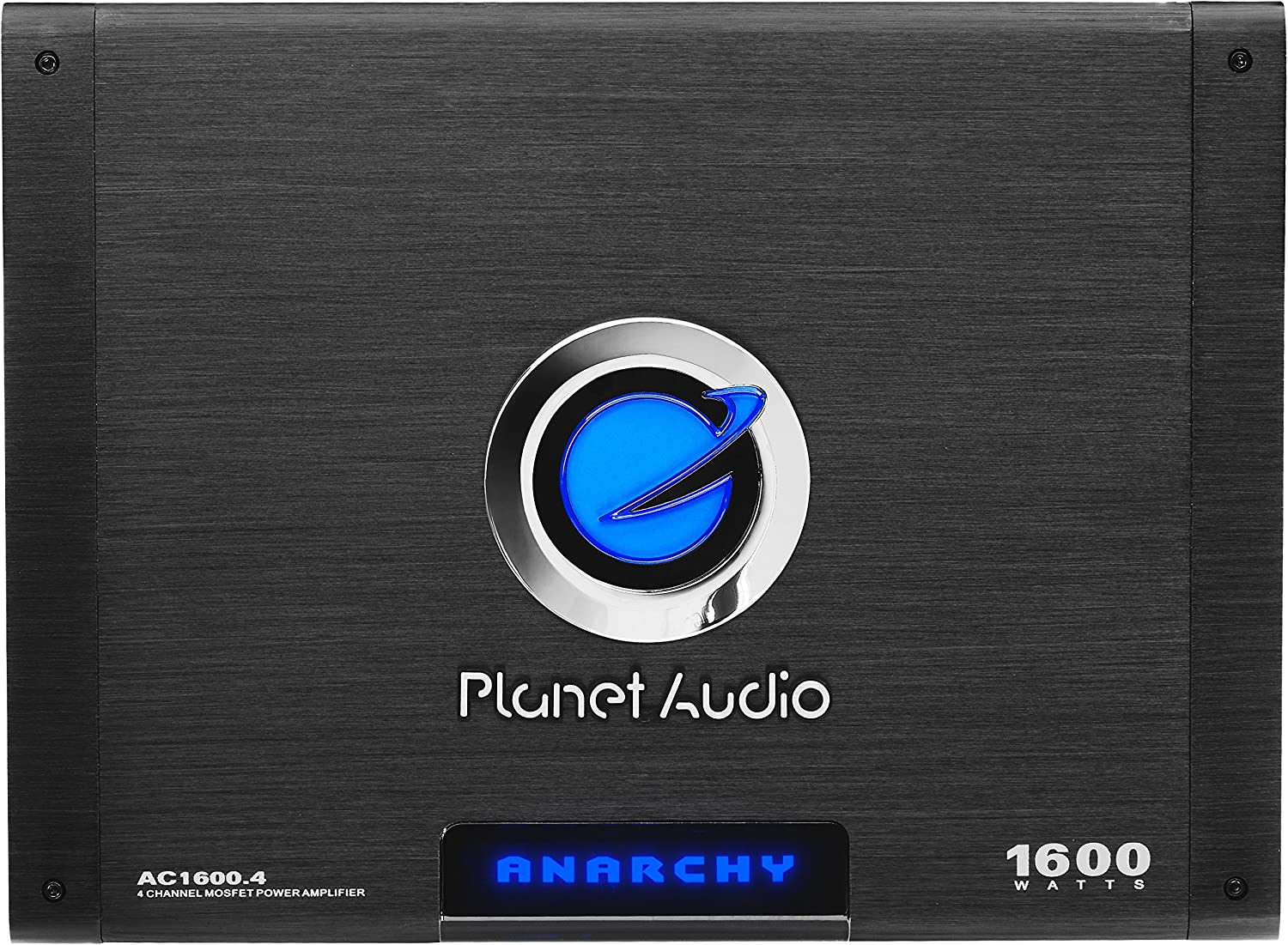 Planet Audio AC1600.4 4 Channel Car Amplifier - 1600 Watts, Full Range, Class A/B, 2-4 Ohm Stable, Mosfet Power Supply, Bridgeable