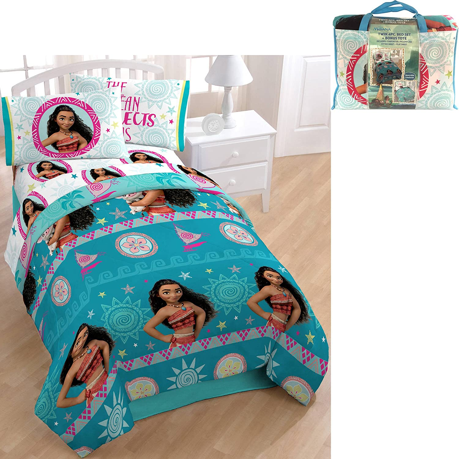Amazon NEW Disney Moana 4 Piece Twin Size Bed in a Bag Bedding
