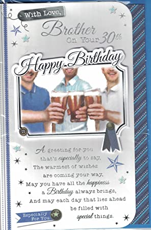Brother 30th birthday card with love brother on your 30th happy brother 30th birthday card with love brother on your 30th happy birthday blue bookmarktalkfo Images