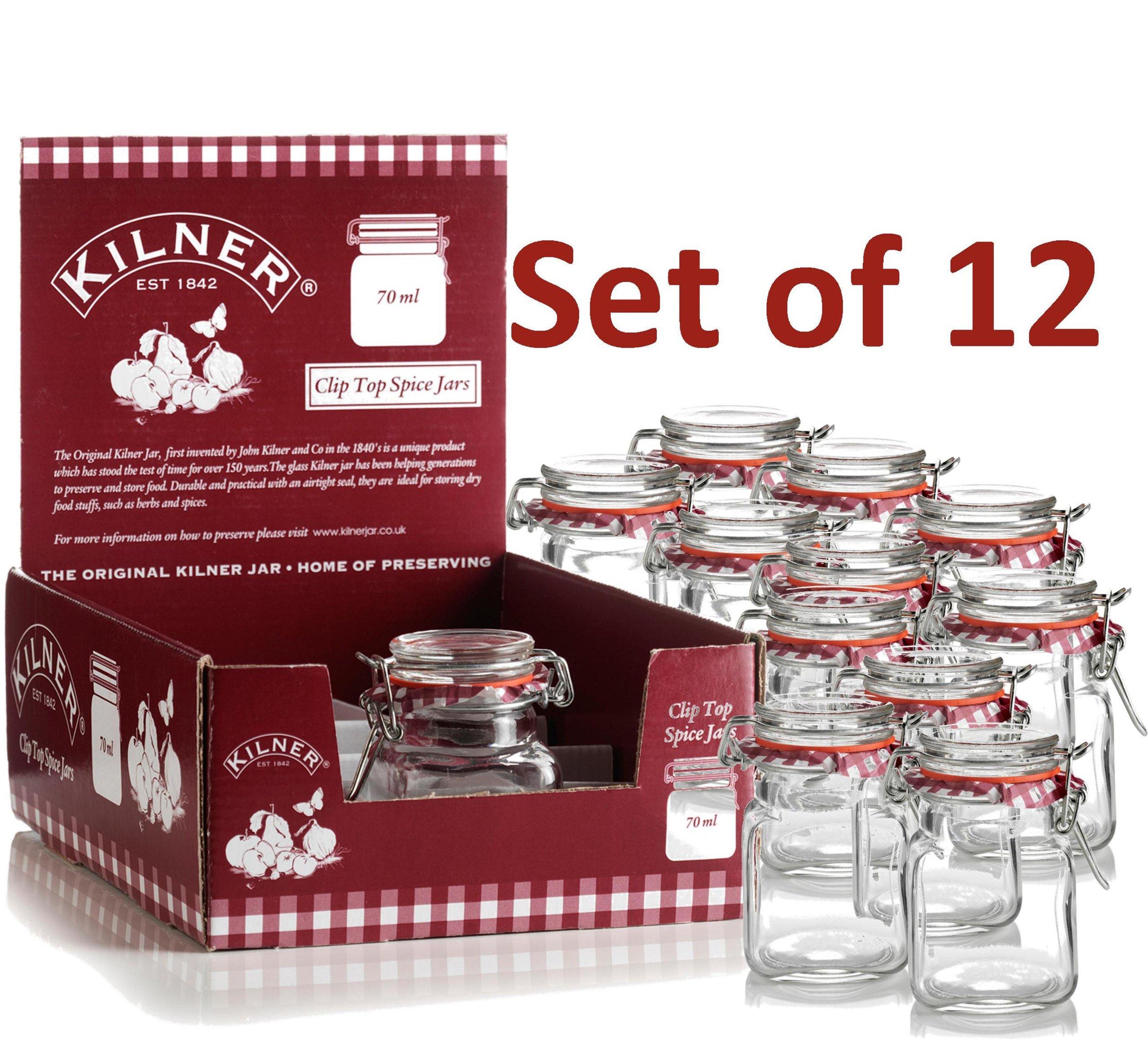 kilner 70 ml mini spice herb clip top jam jars pack of 12. Black Bedroom Furniture Sets. Home Design Ideas