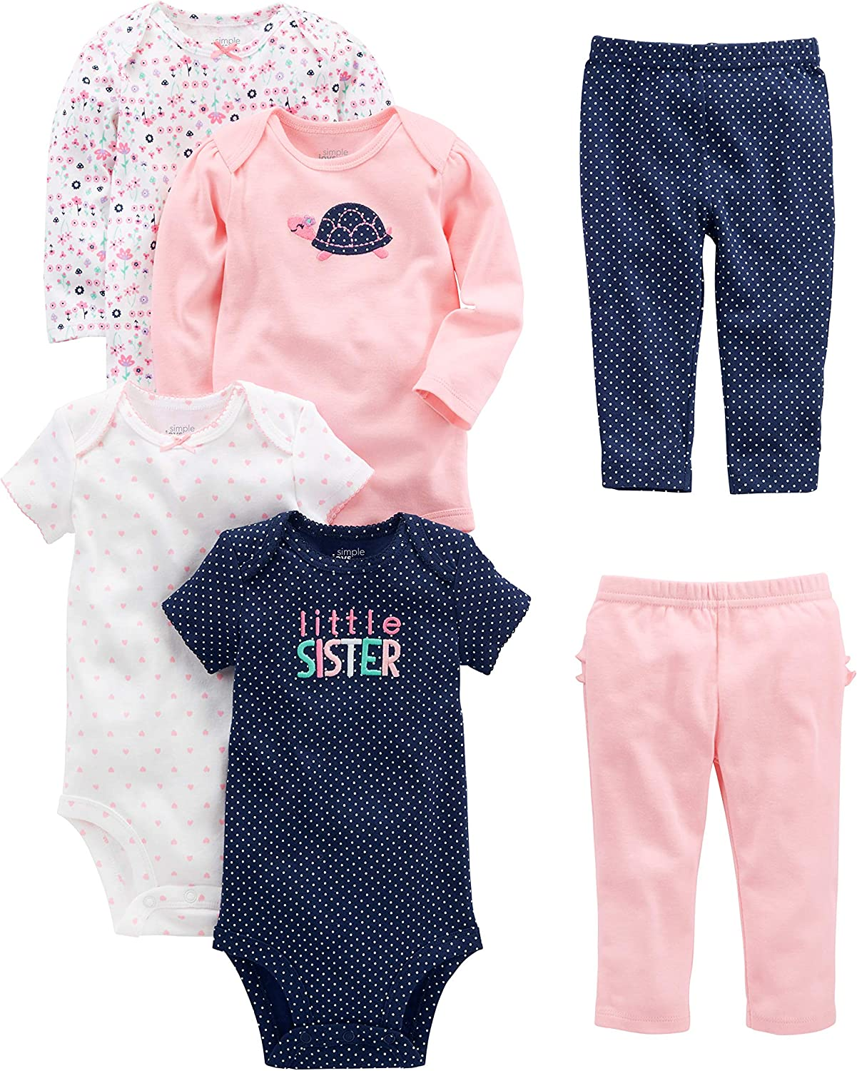Simple Joys by Carters 6-Piece Bodysuits Short Long Sleeve And Pants Set Unisex-Bimbi 0-24