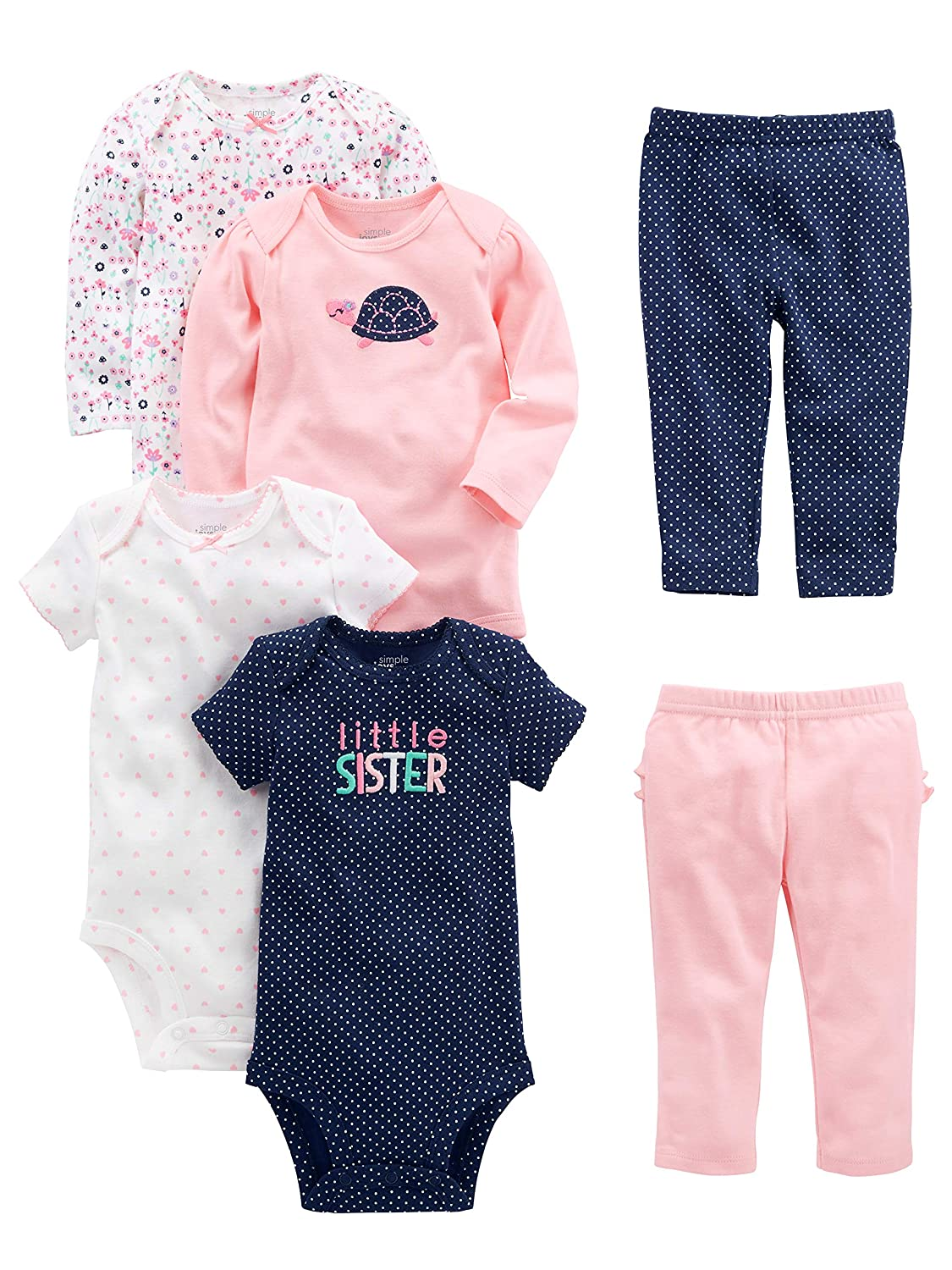9e9236c4a Amazon.com: Simple Joys by Carter's Baby Girls' 6-Piece Bodysuits (Short  and Long Sleeve) and Pants Set: Clothing