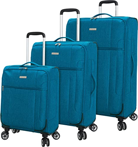 Regent Square Travel – Lightweight Luggage Set With Spinner Goodyear Wheels – Set of 3 Pieces – Soft Case – Lagoon
