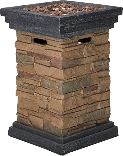 Peaktop HF29402A Square Column Propane Gas Fire Pit Outdoor Garden Slate Rock