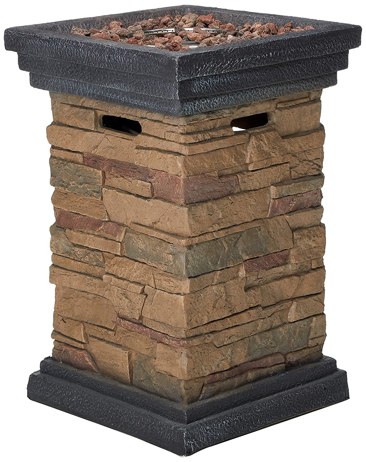 Peaktop - Outdoor Slate Rock Square Column Gas Fire Pit