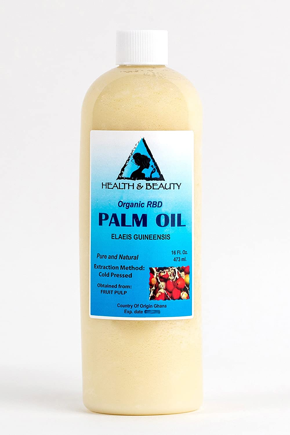 Palm Oil RBD Organic Carrier Cold Pressed Pure 16 oz, 473 ml H&B OILS CENTER Co.