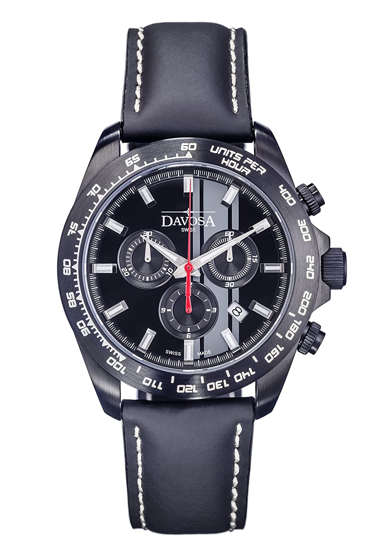 Davosa Herren-Armbanduhr Speedline TX Chrono Chronograph Leder Schwarz 16248855