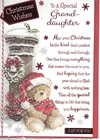 Christmas Wishes Bear.Granddaughter Christmas Card To A Special Granddaughter Christmas Wishes Bear Postbox Card By Prelude Size 20cm X 14cm