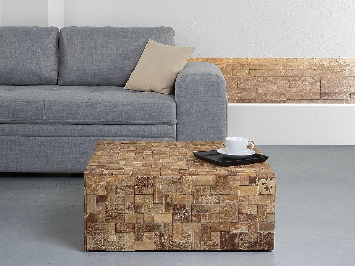 Beliani Rustic Solid Teak Wood Square Coffee Table Gambo