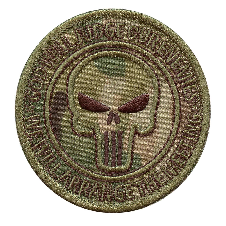 God Will Judge Our Enemies Multicam US Navy Seals DEVGRU Punisher Skull Morale Sew Iron on Pa