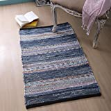 100% Cotton Rag Rug 2x3' Washable, Multicolor Denim Chindi Rug - Hand Woven & Reversible for Living Room Kitchen Entryway Rug