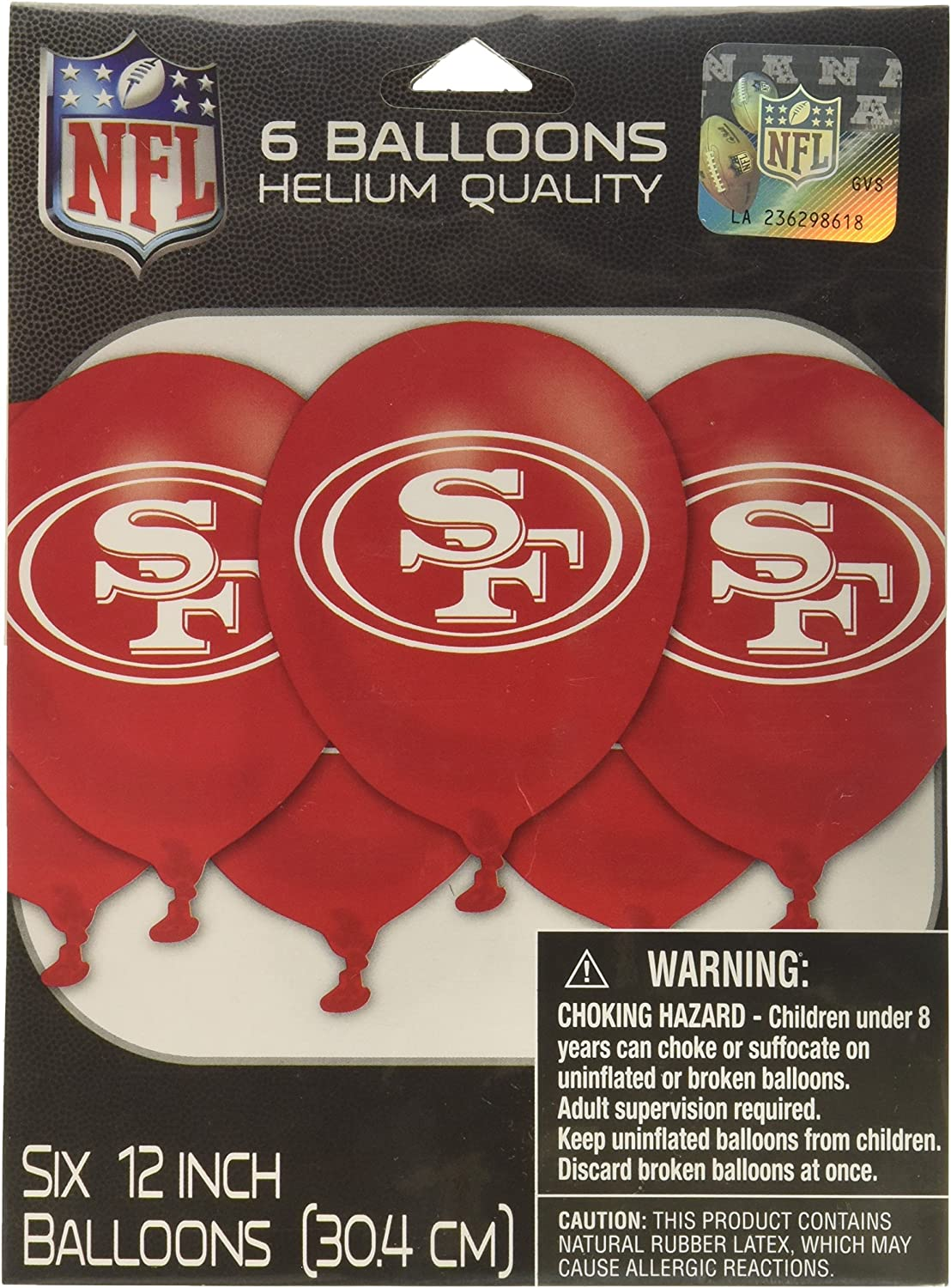 amscan San Francisco 49ers Collection Printed Latex Balloons, Party Decoration,Multi Color,12""