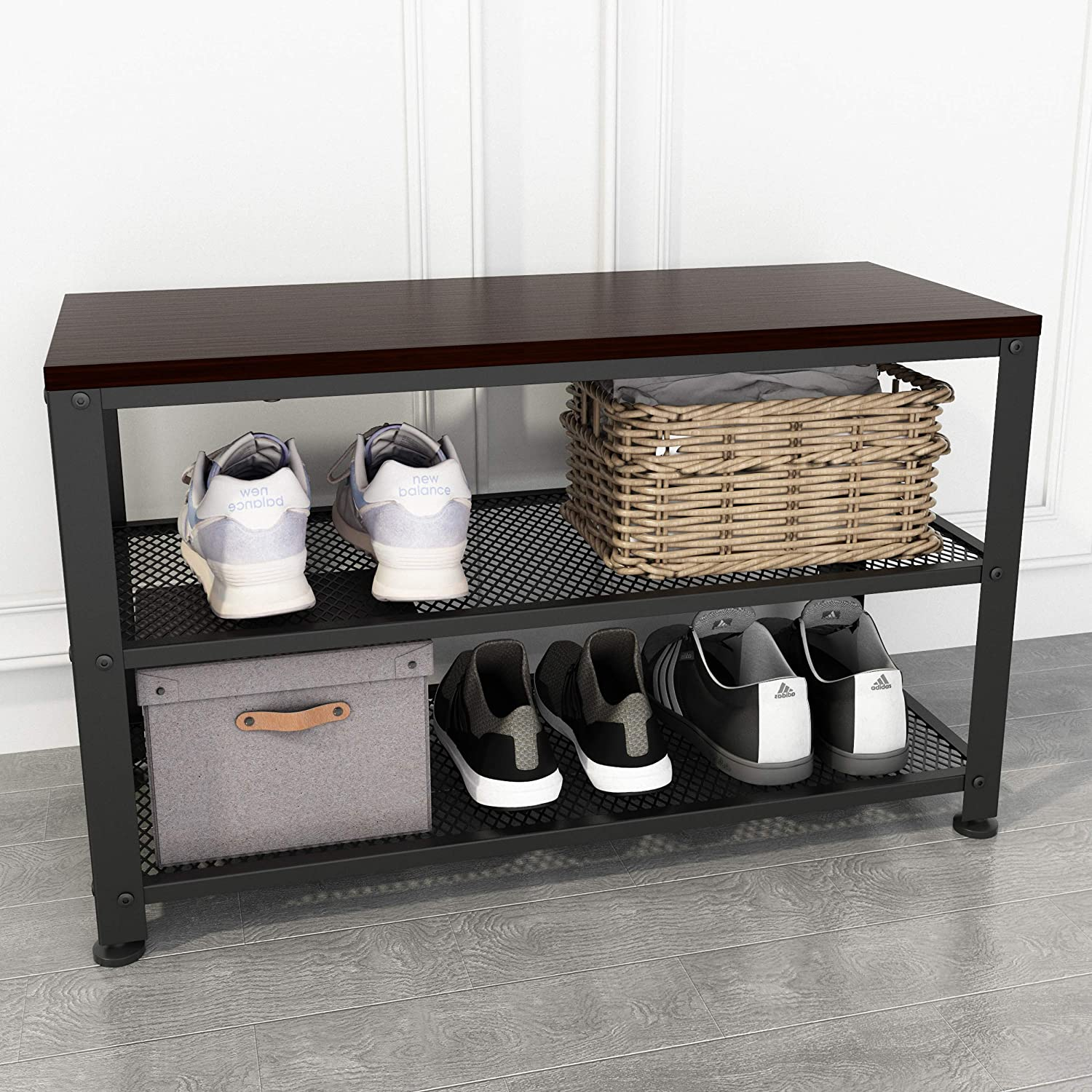 """Rustic Walnut Shoe Bench, 3-Tier Shoe Rack Bench with Mesh Shelves, Sturdy Entryway Bench with Shoe Storage, 28.74""""(W) x 11.81""""(D) x 17.72""""(H), Holds up to 220 lbs"""
