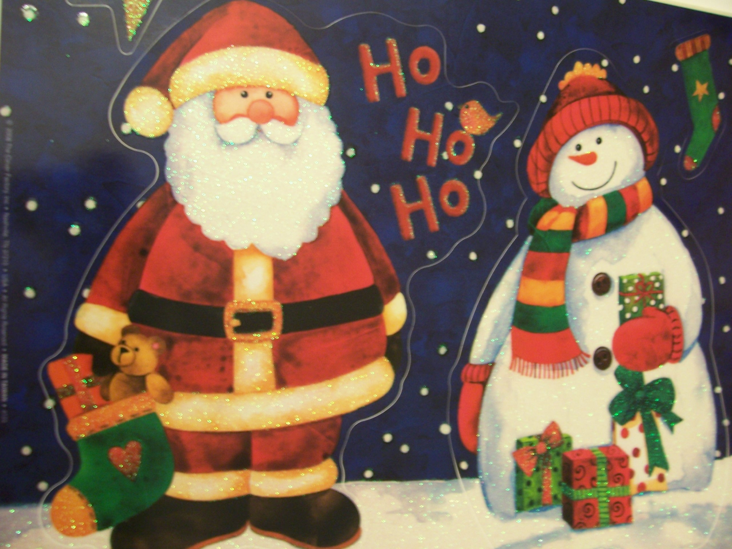 Christmas Glitter Window Cling ~ Santa and Snowman (4 Clings)