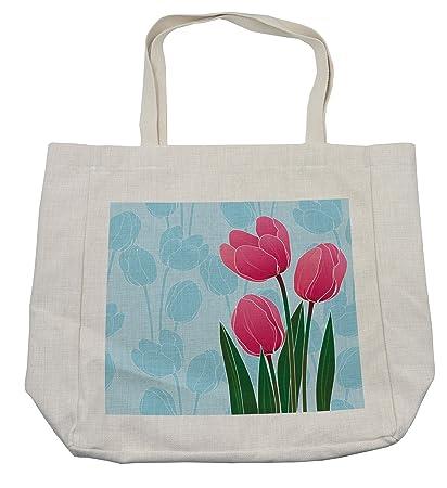 Amazon Com Lunarable Tulip Shopping Bag Illustration Of Flower