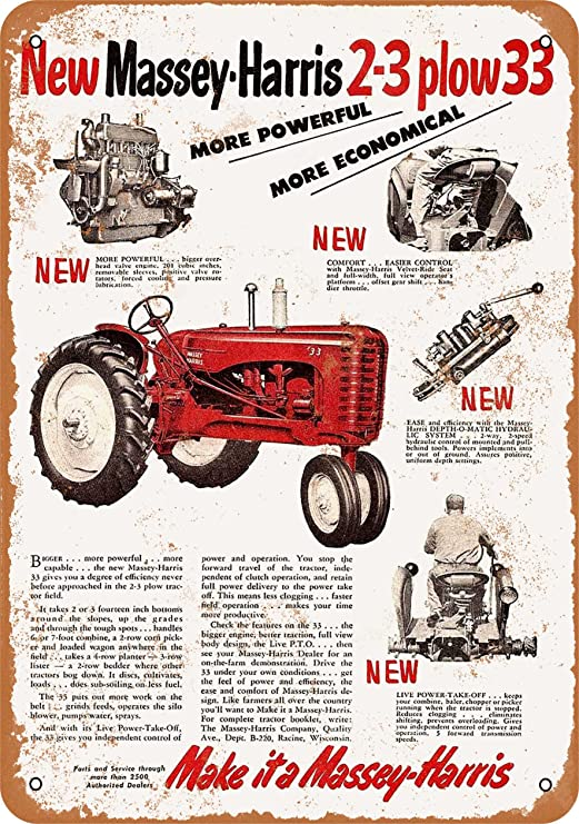 """Ford Tractor Farm Equipment 12/"""" x 8/"""" Metal Sign Garage Embossed Plaque Decor"""