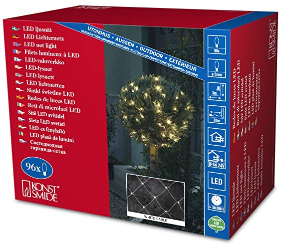 konstsmide light sets outdoor 96 leds 3 x 3 m net light on white cable