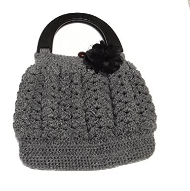 Shell Pattern Crochet Bag With Handle Top Grey At Amazon Womens