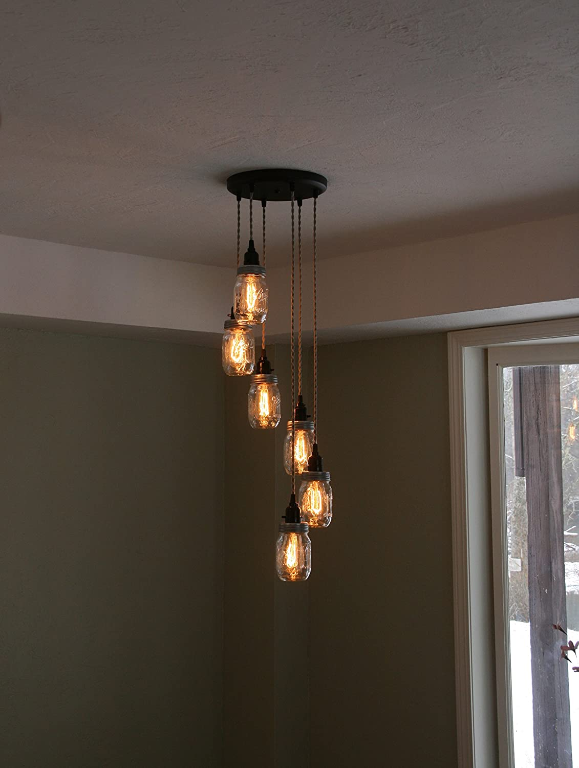 Jar Chandelier Light - 6Strand Spiral Mason Jar Chandelier on 12 ...