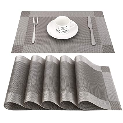 CHAOCHI Placemats Set of 6 Easy Wipe Clean Kitchen Dinner Table Mats Washable X