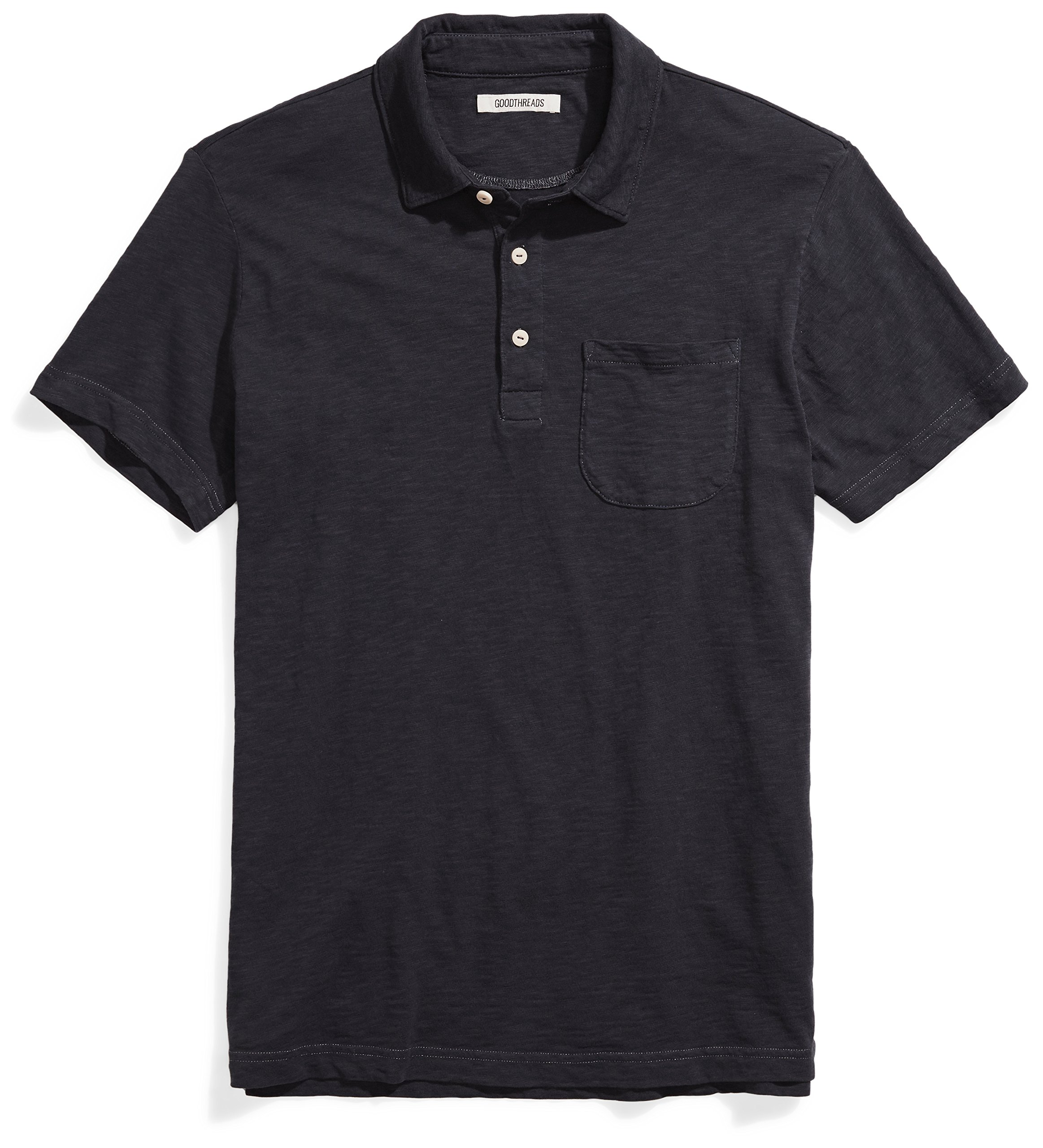 Goodthreads Men's Short-Sleeve Slub Polo, Caviar/Black, Medium