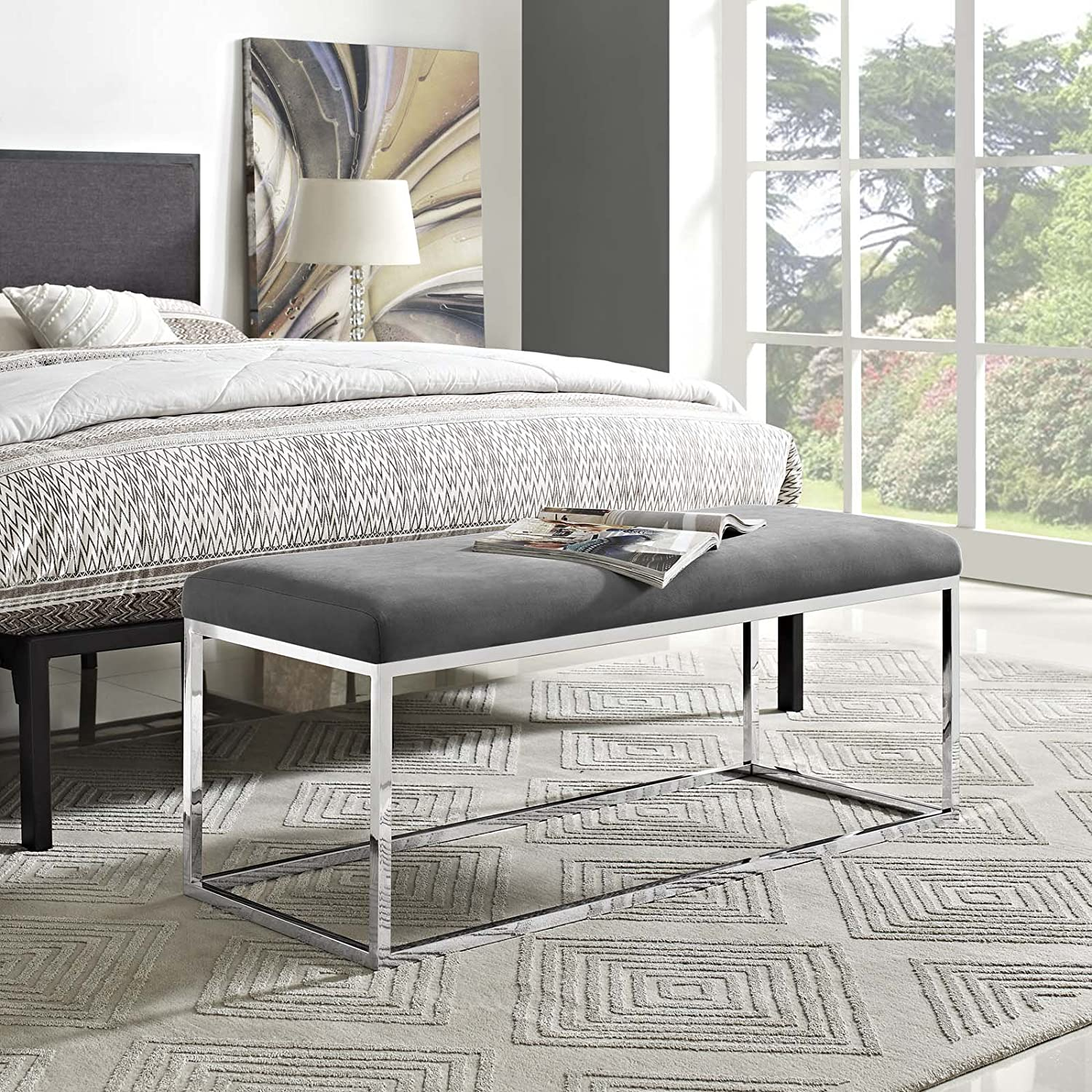 Modway Anticipate Modern Bench With Sheepskin Upholstery and Steel Stainless Steel Frame, White