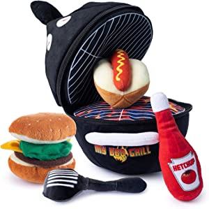 Plush BBQ Grill Toy Set | Includes 4 Talking Soft Plush Food & Utensils | A Plush Grill Shaped Carrier | Great Gift for Baby and Toddler Boys or Girls