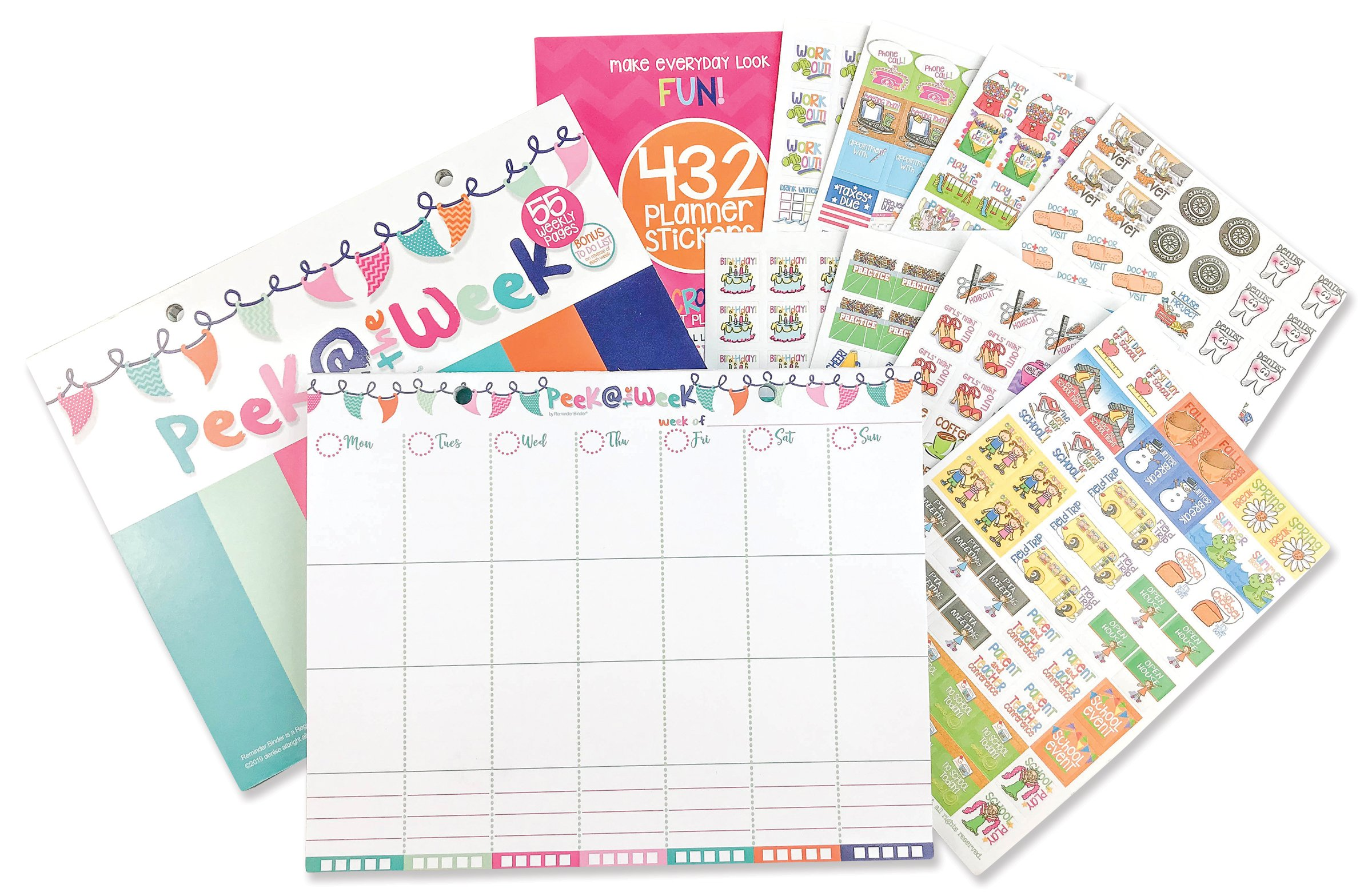 Weekly Planner Pad Bundle + Event Stickers Variety Sets (Total of 432 Stickers) Daily Vertical Layout, Tear Off to Do Lists, 8''x10'' 55-Pages Best for 2018 Planning & Organization (Bundle of 2 Items)
