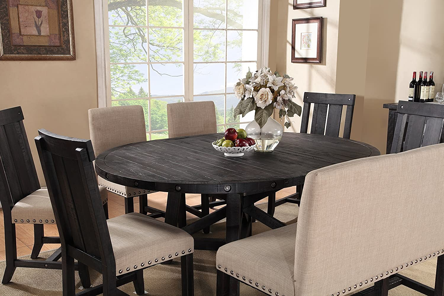 Amazon.com   Modus Furniture 7YC961R Yosemite Solid Wood Round Extension  Table, Black Pine   Chairs