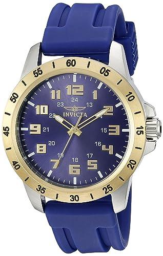 Invicta 21841 Hombres de Pro Diver Azul poliuretano y esfera tono dorado bisel SS reloj: Amazon.es: Relojes